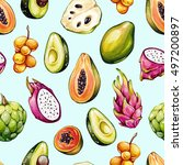 tropical pattern. exotic... | Shutterstock . vector #497200897