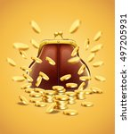 classic vintage purse with gold ... | Shutterstock .eps vector #497205931