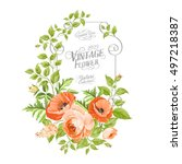 vintage card background with... | Shutterstock .eps vector #497218387