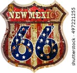 route sixty six sign mew mexico ... | Shutterstock .eps vector #497221255