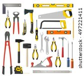 set of tools on a white... | Shutterstock .eps vector #497221411