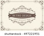 ornate vintage card design with ... | Shutterstock .eps vector #497221951