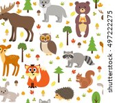 seamless pattern with cute... | Shutterstock .eps vector #497222275
