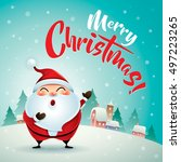 merry christmas  santa claus in ... | Shutterstock .eps vector #497223265