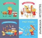 fast food cartoon characters... | Shutterstock .eps vector #497229781