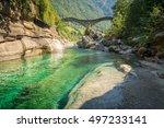 ponte dei salti valle verzasca ... | Shutterstock . vector #497233141