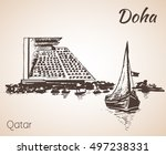 doha  qatar city view sketch.... | Shutterstock .eps vector #497238331