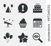 birthday party icons. cake ... | Shutterstock .eps vector #497240251