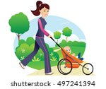 woman with baby stroller in... | Shutterstock .eps vector #497241394