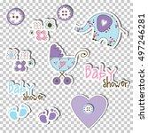 baby shower design elements.... | Shutterstock .eps vector #497246281