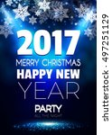 christmas party poster. happy... | Shutterstock .eps vector #497251129