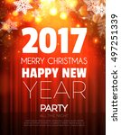 christmas party poster. happy... | Shutterstock .eps vector #497251339