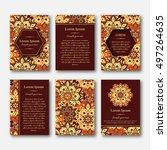 set of cards  flyers  brochures ... | Shutterstock .eps vector #497264635