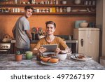 we love our mornings together | Shutterstock . vector #497267197