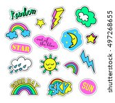 pop art set with fashion patch... | Shutterstock .eps vector #497268655