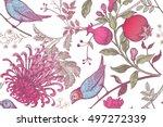 vintage japanese chrysanthemum... | Shutterstock .eps vector #497272339