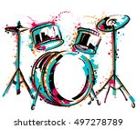 drum kit with splashes in... | Shutterstock .eps vector #497278789