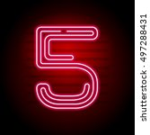 realistic red neon number.... | Shutterstock .eps vector #497288431
