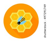 Honeycomb With Bee Circle Icon...
