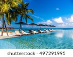 luxury pool at the beach  with... | Shutterstock . vector #497291995