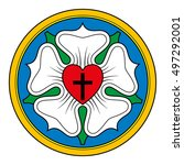 luther rose  or seal  symbol of ... | Shutterstock .eps vector #497292001