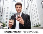 confident young businessman... | Shutterstock . vector #497293051