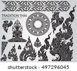 set of thai art element ... | Shutterstock .eps vector #497296045