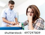 doctor makes the patient an... | Shutterstock . vector #497297809