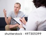 young man talking about his... | Shutterstock . vector #497305399