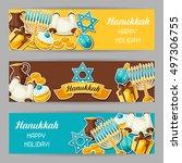 jewish hanukkah celebration... | Shutterstock .eps vector #497306755