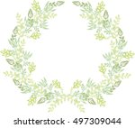 autumn wreath of plants.... | Shutterstock .eps vector #497309044