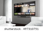 big screen tv at living room... | Shutterstock . vector #497310751