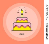 cake with candle thin line icon....