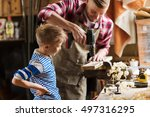 family  carpentry  woodwork and ... | Shutterstock . vector #497316295