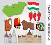hungary icons set. pixel art.... | Shutterstock .eps vector #497316967