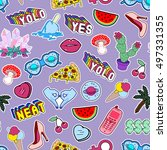 seamless pattern with fashion... | Shutterstock .eps vector #497331355