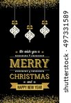 golden hanging christmas... | Shutterstock .eps vector #497331589