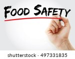 hand writing food safety with... | Shutterstock . vector #497331835