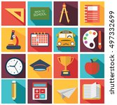 back to school icon set. vector ... | Shutterstock .eps vector #497332699