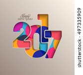 creative colorful text 2017 for ... | Shutterstock .eps vector #497335909
