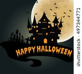 halloween night background with ... | Shutterstock .eps vector #497344771