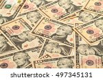 Small photo of Background of a large number of new banknotes ten dollars. Type acute angle