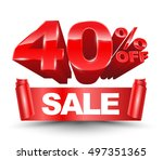 40 percent off sale red ribbon... | Shutterstock .eps vector #497351365