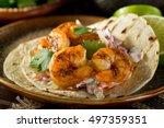 delicious spicy shrimp taco... | Shutterstock . vector #497359351