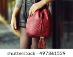 elegant outfit. closeup of red... | Shutterstock . vector #497361529