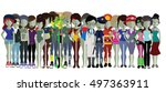 groupe of zombies | Shutterstock .eps vector #497363911