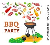 barbecue party poster. 3d...   Shutterstock .eps vector #497364241