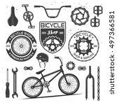 set of bicycle vector black... | Shutterstock .eps vector #497366581