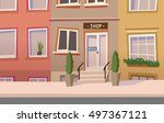 neat old town street with a... | Shutterstock .eps vector #497367121