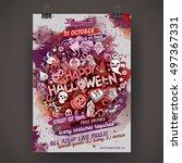 vector happy halloween doodles... | Shutterstock .eps vector #497367331
